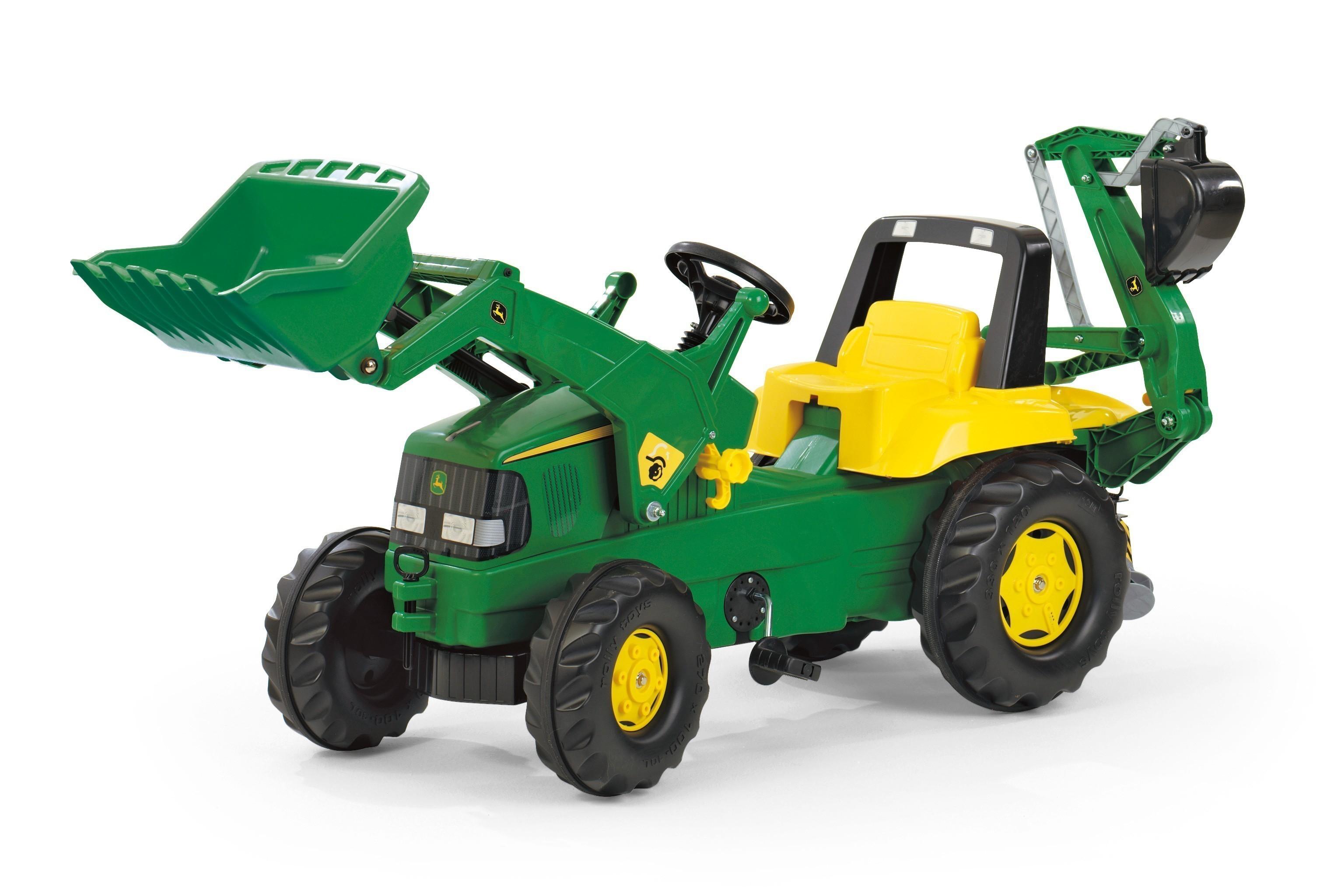 Trettraktor rolly Junior John Deere Frontlader + Bagger - Rolly Toys Bild 1