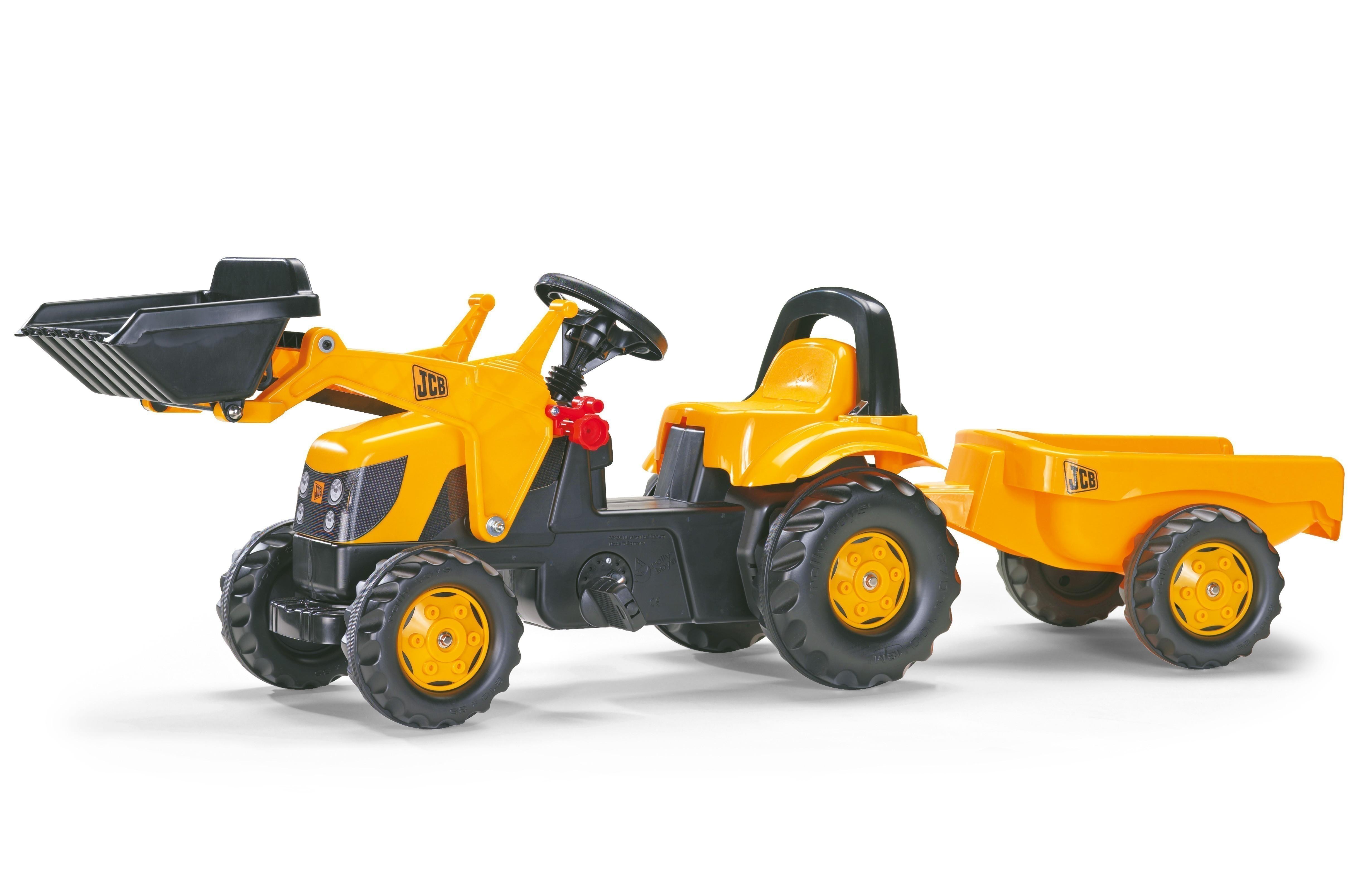 Trettraktor rolly Kid JCB mit Frontlader + Anhänger - Rolly Toys Bild 1
