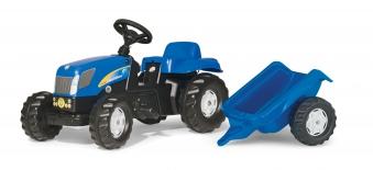 Trettraktor rolly Kid New Holland T 7040 mit Anhänger - Rolly Toys Bild 1