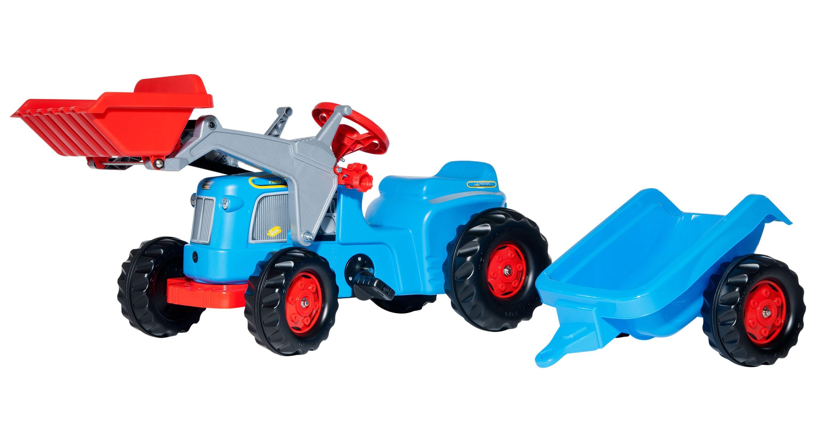 Trettraktor rollyKiddy Classic Frontlader + Anhänger blau - Rolly Toys Bild 1